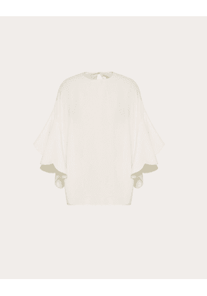 Valentino Georgette Top With Scallop Detail Women Ivory  42