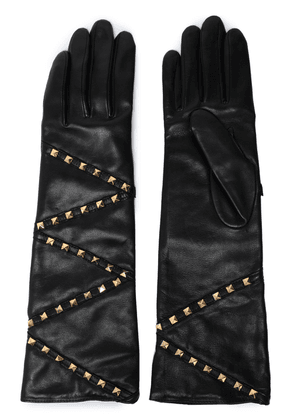 Agnelle Studded Leather Gloves Woman Black Size 7.5