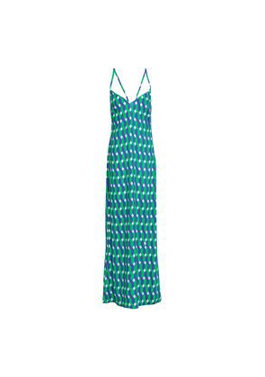 Emma Pake Lace-up Printed Voile Maxi Dress Woman Green Size S
