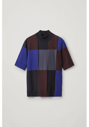 CHECKED WOOL TOP