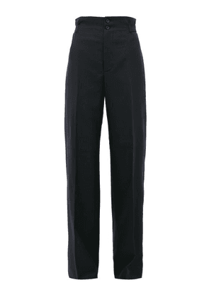 Connolly - High-rise Wool-blend Wide-leg Trousers - Womens - Navy