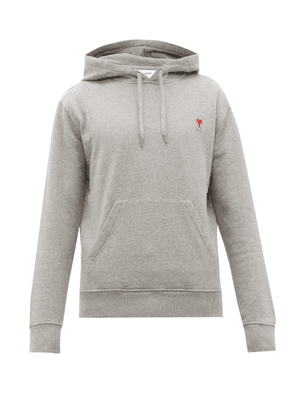 Ami - Logo-appliqué Cotton Hooded Sweatshirt - Mens - Grey