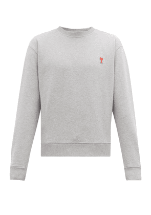 Ami - Ami De Coeur-appliqué Cotton Sweatshirt - Mens - Grey