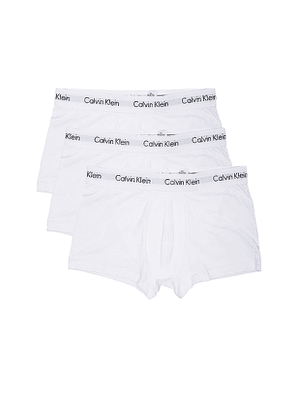 Calvin Klein Underwear Cotton Stretch 3 Pack Low Rise Trunks in White. Size L,S,XL.
