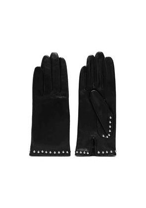 Agnelle Studded Leather Gloves Woman Black Size 7
