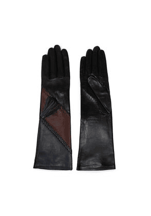 Agnelle Whipstitch-trimmed Color-block Leather Gloves Woman Brown Size 6.5