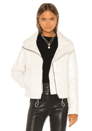 LTH JKT Cay Cropped Leather Puffer Jacket in White. Size S,XS.