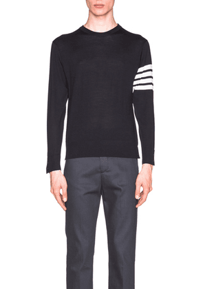Thom Browne Classic Merino Crewneck Sweater in Navy - Blue. Size 1 (also in 0,2,4).