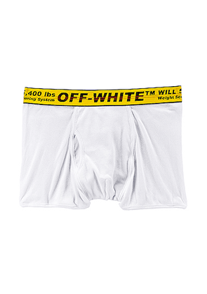 OFF-WHITE Single Pack Boxer in White & Yellow - White. Size L (also in XS,S,M,XL).