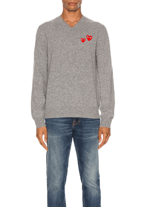 Comme Des Garcons PLAY Multi Heart Pullover Sweater in Grey - Gray. Size L (also in M).