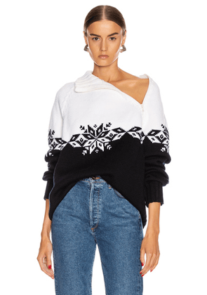 Monse Snowflake Zip Turtleneck Sweater in Midnight & Ivory - Abstract,Blue,White. Size L (also in M).