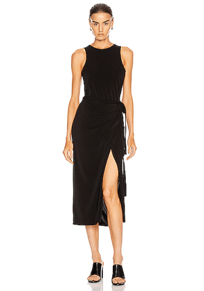 Proenza Schouler White Label Matte Jersey Sleeveless Wrap Dress in Black - Black. Size M (also in XS,S,L).