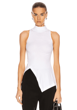 Rosetta Getty Sleeveless Paneled Turtleneck Top in White - White. Size M (also in XS,S,L).