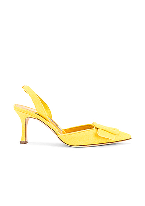 Manolo Blahnik Maysli 70 Slingback in Yellow Denim - Yellow. Size 38 (also in 36,37.5,38.5,39,40,41).