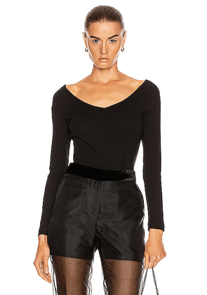 Rosetta Getty Open V Neck T Shirt in Black - Black. Size S (also in XS,M).