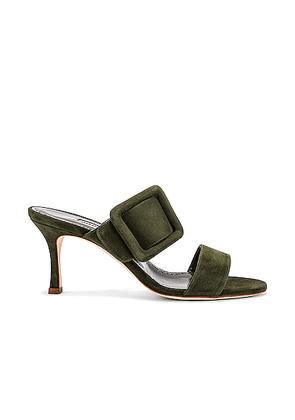 Manolo Blahnik Gable 70 Suede Sandal in Military Green - Green. Size 38 (also in 37,37.5,38.5,39,40).