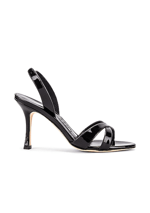 Manolo Blahnik Calla 90 Patent Slingback in Black - Black. Size 38 (also in 36,37.5,38.5,39,40).