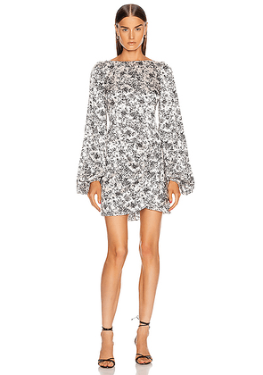 Caroline Constas Leonie Dress in Black - White,Floral. Size L (also in S,XS,M).