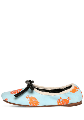 10mm Printed Leather Ballerina Flats