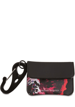 Floral Leather Coin Wallet W/ Carabiner