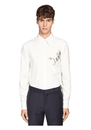 Silk Poplin Shirt W/metallic Embroidery