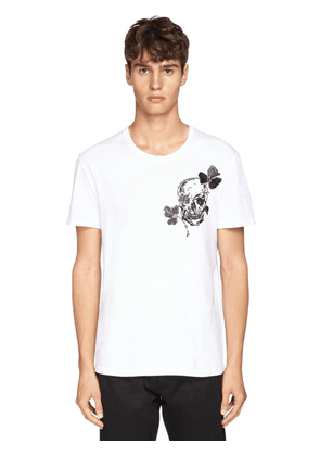 Skull & Floral Embroidered T-shirt