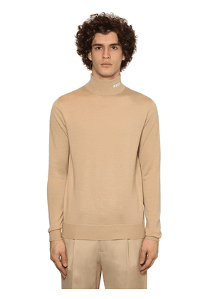 Embroidered Wool Blend Knit Turtleneck