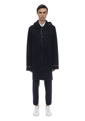 Hooded Wool & Cashmere Knit Duffle Coat