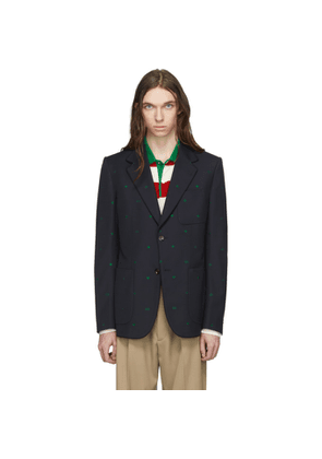 Gucci Navy Fancy Elements Print Blazer