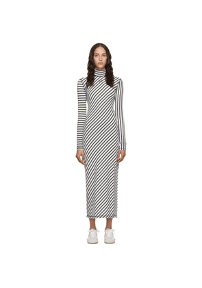 Loewe Navy and White Stripe Jersey High Neck Dress