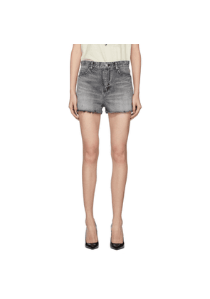 Saint Laurent Grey Denim Baggy Raw Edge Shorts