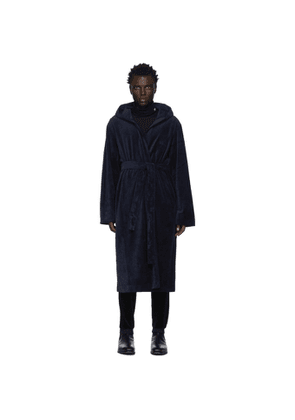 Boss Navy Velour Hooded Robe