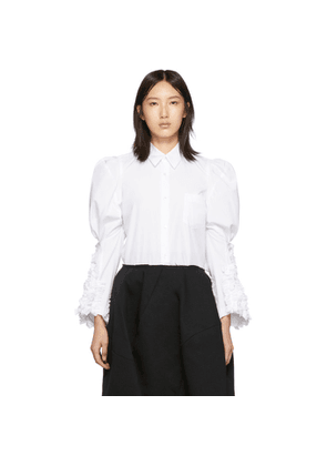 Comme des Garcons White Ruffled Sleeve Shirt