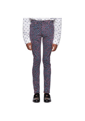 Gucci Pink and Blue Leopard Skinny Jeans