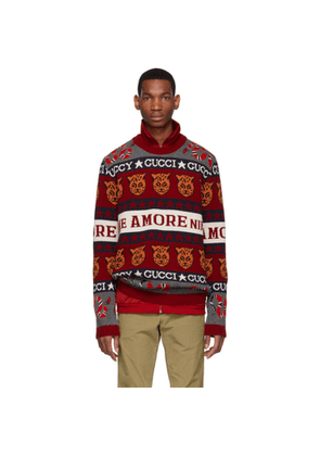 Gucci Red and White Wool Jacquard Symbols Sweater