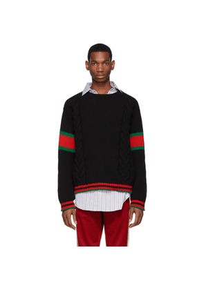 Gucci Black Cable Knit Web Sweater
