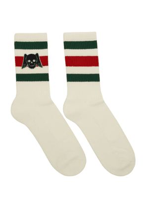 Gucci White Winged Skull Socks