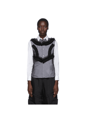 Comme des Garcons White and Black Poplin and Georgette Ruffle Detail Shirt