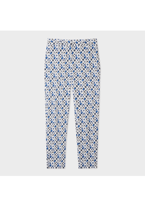 Women's Classic-Fit White 'Ditsy Beetle' Print Stretch-Cotton Trousers
