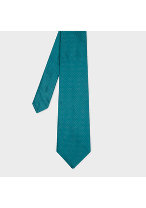 Men's Teal Pin Dot Motif Silk Tie