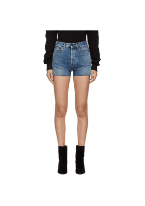 Saint Laurent Blue Denim Band Shorts