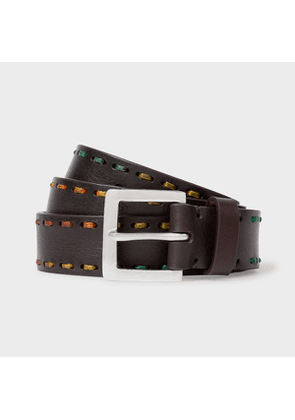Men's Chocolate Brown Leather Belt With Multi-Coloured Stitching
