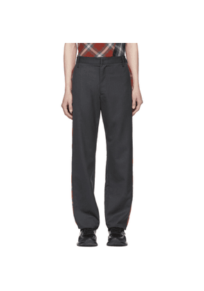 Chin Mens Grey Side Plaid Trousers