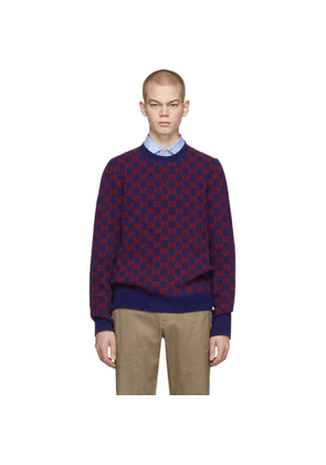 Gucci Blue and Red Wool Sweater