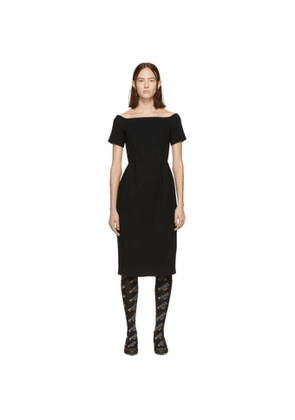 Fendi Black Wool Crepe Off-the-Shoulder Dress