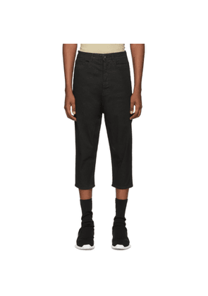 Rick Owens Drkshdw Black Blistered Collapse Cropped Jeans