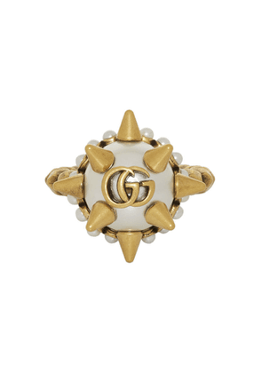 Gucci Gold Studded Pearl Ring