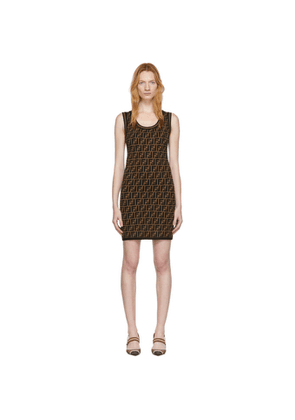 Fendi Black and Brown Knit Forever Fendi Dress