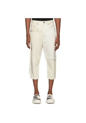 Rick Owens Drkshdw Off-White Combo Collapse Cropped Jeans