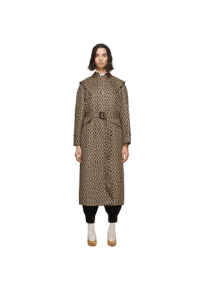 Gucci Beige Wool G Rhombus Cap Trench Coat